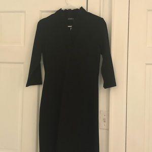 J. McLaughlin mid sleeve black V-neck dress